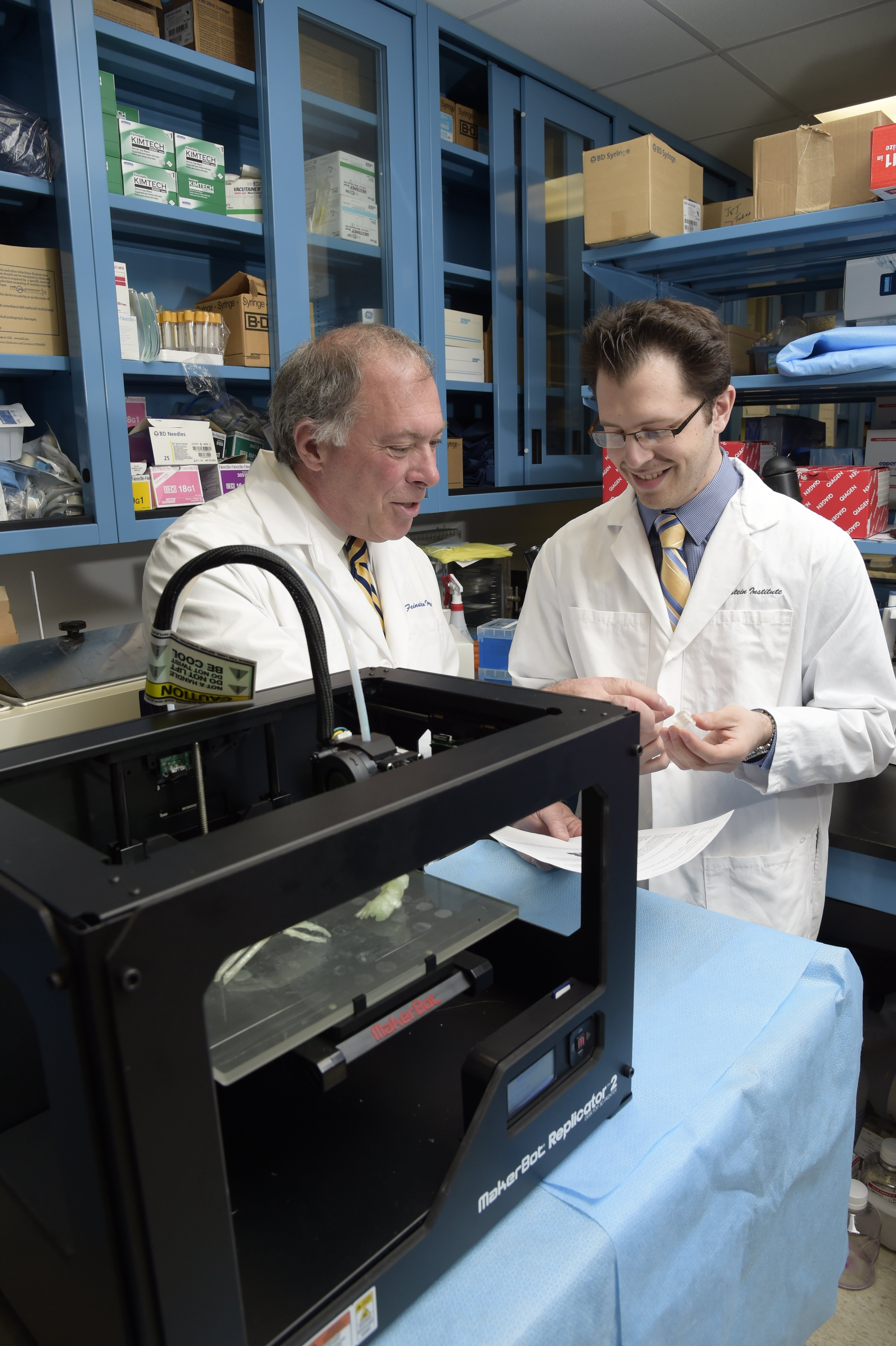Physicians at North Shore University Hospital/Feinstein Institute for Medicine in Manhassett, N.Y., use a 3-D printer to assist with medical cases.