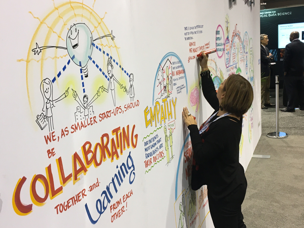 Radiology art in the making in the artificial intelligence (AI) education area at the 2019 RSNA meeting this week. The artist asked attendees what issues they encounter and how how AI May help and she drew it on the wall.