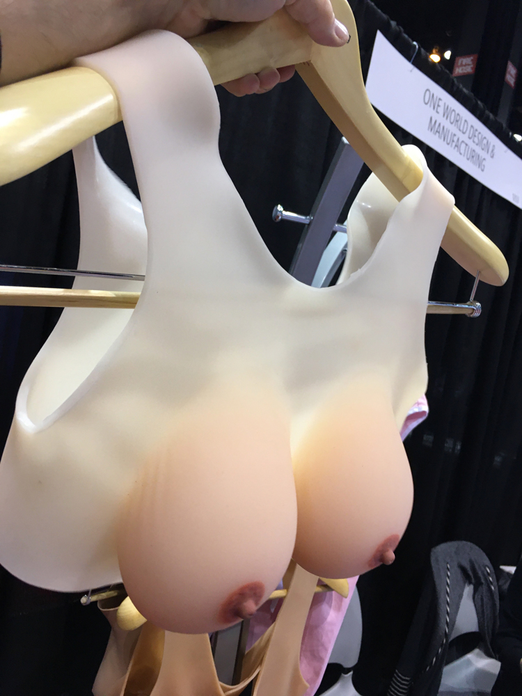 For breast imaging centers lacking volunteers to allow techs to practice mammogram breast compression on them, the vendor One World is showing strap on breasts for training on the expo floor of the 2019 Radiological Society Of North America (RSNA) meeting. They offer 3 different breast sizes so a volunteer can be the patient and allow techs to properly position and compress the realistic breasts.