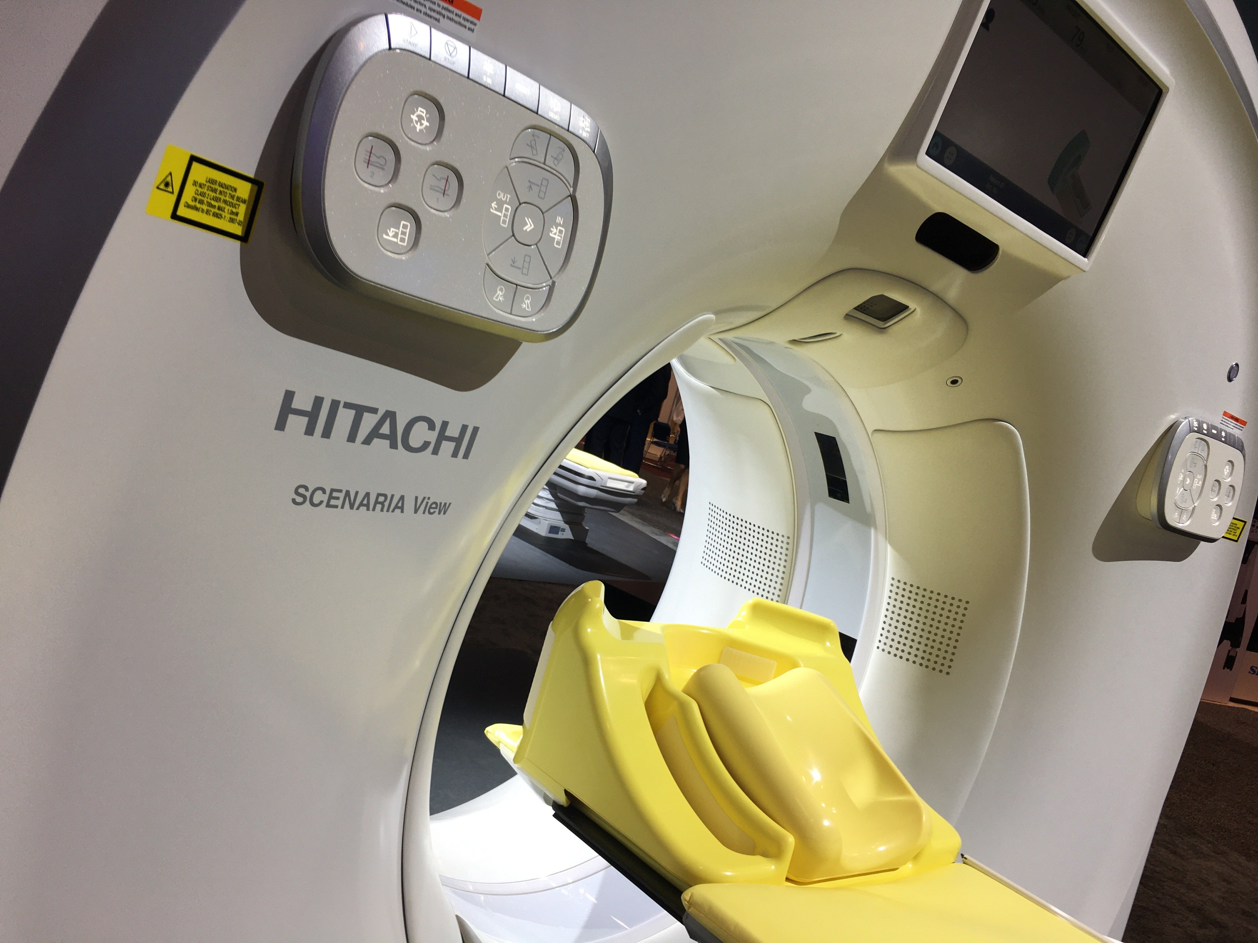 The Hitachi Scenaria View CT scanner on display at the 2019 Radiological Society of North America (RSNA) meeting in December. This workhorse 64 or 128 slice CT system, and Hitchai's portfolio of MRI and ultrasound systems, is attracting the attention of Fujifilm, which does not have some of these technologies. Combined, the new new portfolio may help Fufifilm capture a parger portion of international radiology market share. Photo by Dave Fornell.