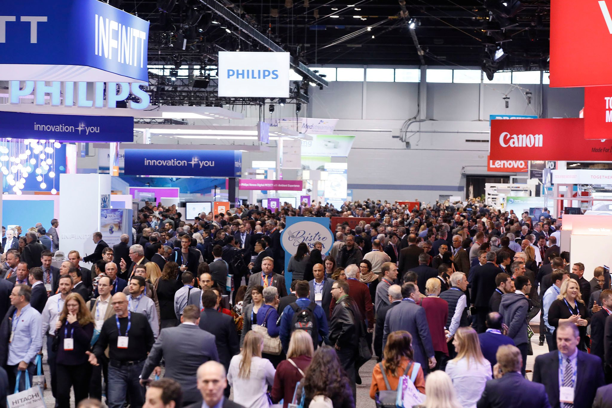RSNA 2017 technical exhibits, expo floor, showing new radiology technology advances.