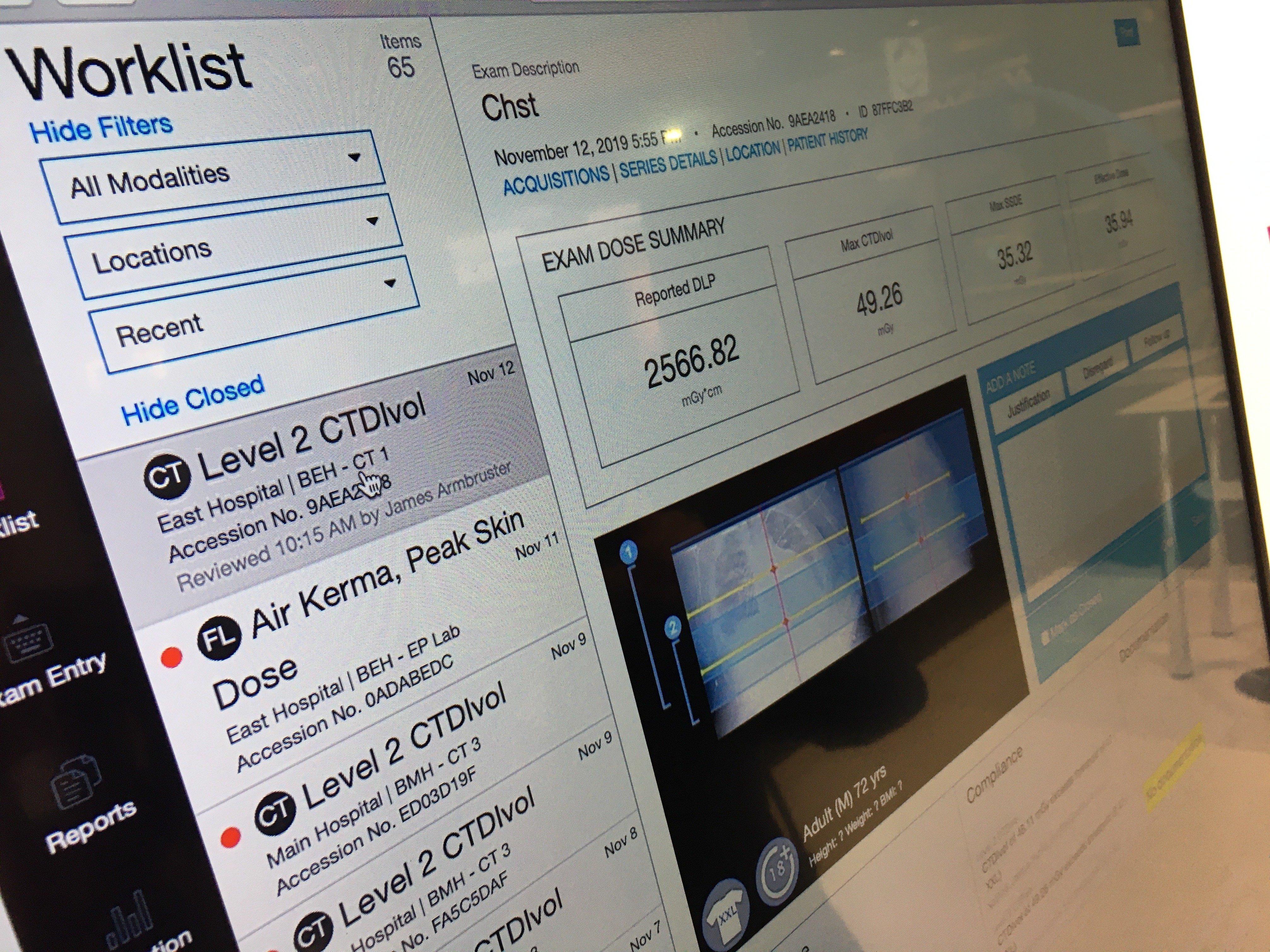 CT imaging radiation dose tracking software from Imalogix displayed at RSNA 2019.