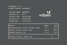 This is an example of the output from Volpara, one of the volumetric breast density assessment tools on the market. Volumetric Breast & Fibrograndular Density Assessment