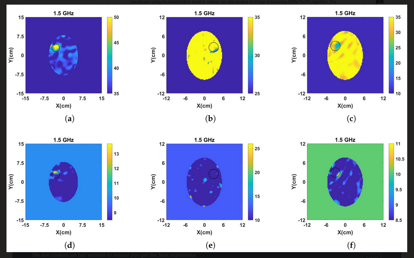 Figure 2: MWT Reconstructed Image: Results from single frequency reconstructions of the real (a-c) and imaginary (d-f) part of the complex permittivity for hemorrhagic stroke (left), 25% Ischemic stroke (middle) and 50%  Ischemic stroke (right), using frequency hopping approach in frequency range of 0.7-1.5GHz and distorted Born iterative method, two-step iterative shrinkage thresholding DBIM-TwIST) image reconstruction algorithm.