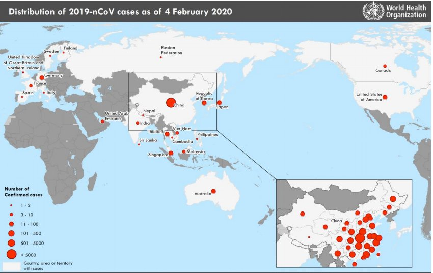 Corona virus (2019 nCoV) situation map as of Feb. 5, 2020 from the World Health Organization (WHO). Novel Coronavirus global, world map.