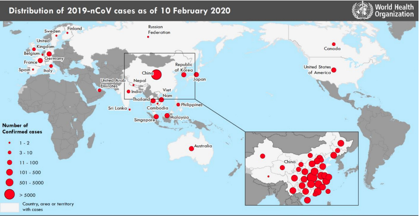 Corona virus (2019 nCoV) situation map as of Feb. 10, 2020, from the World Health Organization (WHO).