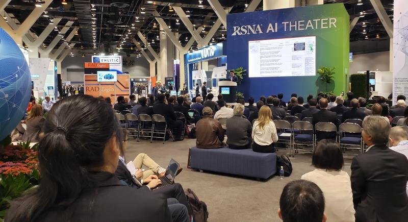 During RSNA 2019, some vendors explained from a stage in the AI Showcase how radiology performance can improve with the help of smart algorithms. Photo by Greg Freiherr