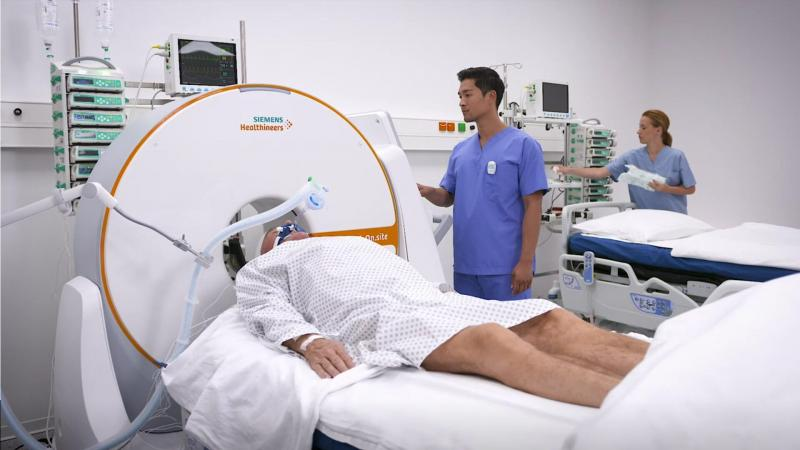 A mobile head CT, the Somatom On.site, is designed to avoid costly and potentially risky patient transport by allowing bedside scans. Photo courtesy of Siemens Healthineers