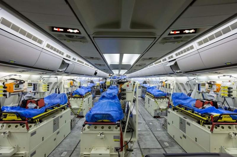 The interior of the German air force Airbus A-310 Medivac in Cologne, Germany, before its departure to Bergamo, Italy, March 28 to being ferrying COVID-19 patients to Germany for treatment to aid the Italians, whose healthcare system has been overwhelmed by the rapid spread of the coronavirus pandemic. Bundeswehr Photo by Kevin Schrief.