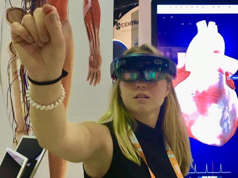 The use of augmented and virtual reality in radiology was the subject of two articles and part of the HIMSS 2019 trends article in the top 25 list. Augmented reality is being looked at as a way to better train radiologists, allow surgeons to use medical imaging in true 3-D to better plan surgeries, and it can allow patients to better understand their conditions compared to use of traditional 2-D medical images. Photo by Dave Fornell.
