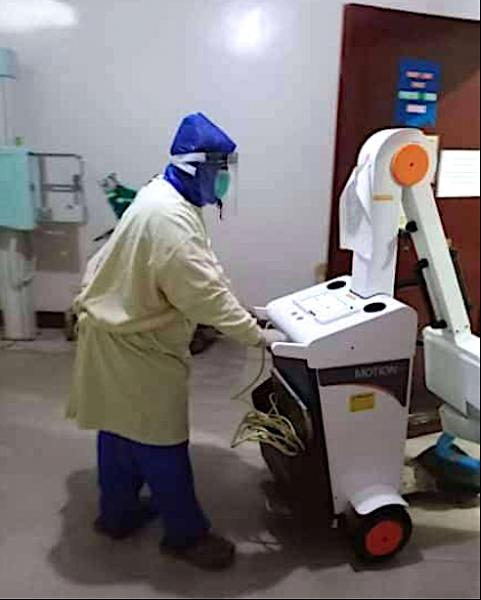 Improvised PPE face mask worn by a radiology technologist during rounds atSen. Gerardo M. Roxas Memorial District Hospital in Iloilo City, Philippines. #COVID19 #Coronavirus #SARScov2