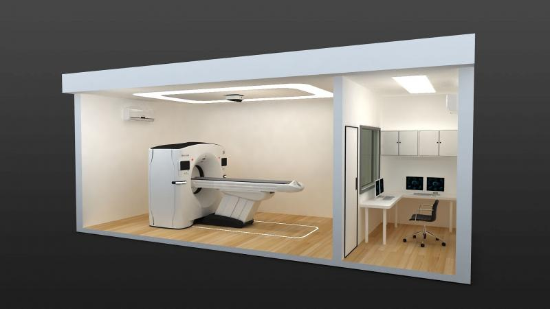 """A cut-away view of the two cabins that compose the """"CT-in-a-box"""" solution from GE to rapidly deploy CT scanners at hospitals amid a COVID surge. The CT room is completely separate from the control room to aid in sanitation and keeping technologists away from COVID patients."""