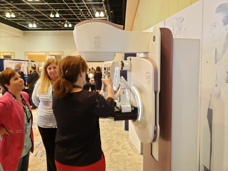 GE Healthcare showcases Senographe Pristina Serena featuring its add-on-biopsy kit at the Breast Imaging Symposium. Photo by Greg Freiherr
