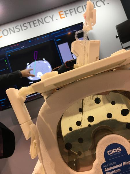 This is the FDA-cleared XACT Robotics system use during computed tomography (CT) guided percutaneous interventional procedures. XACT's technology is the first hands-free robotic system combining image-based planning and navigation with insertion and steering of various instruments to a desired target across an array of clinical applications and indications.