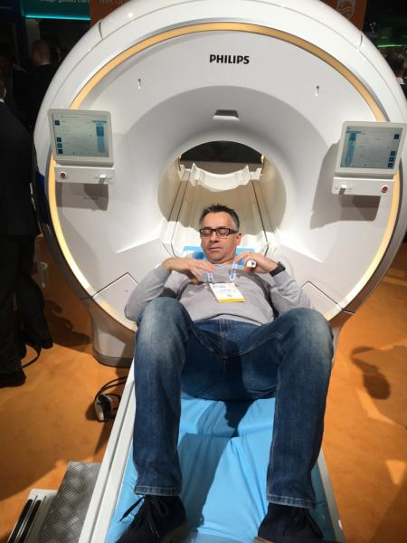 """The new Philips Ingenia Ambition is billed as a """"helium-free"""" MRI system on display at The 2019 Radiological Society Of North America (RSNA)."""