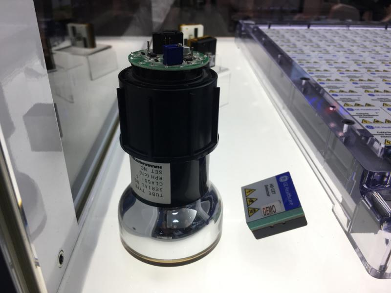 A comparison of a nuclear imaging photo multiplier tube (PMT) and a digital CZT detector used on GE Healthcare's molecular imaging systems. This is a display at the vendor's booth at RSNA 2019
