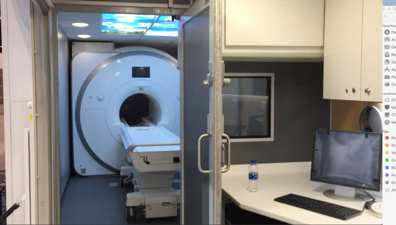 An example of a semitruck trailer-based mobile MRI suite.