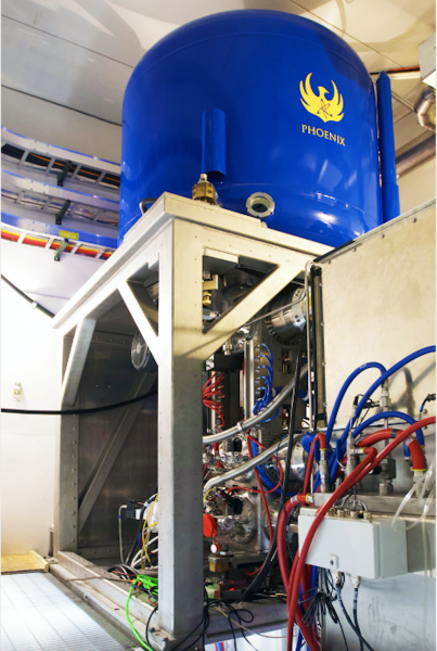 Shine Test System paired with the world's strongest commercial fusion neutron generator manufactured by Phoenix. It can break apart low-enriched uranium to produce moly-99 for medical isotope production.