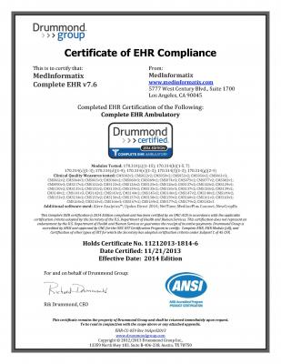 MedInformatix RIS EHR Stage 2 Meaningful Use Certification