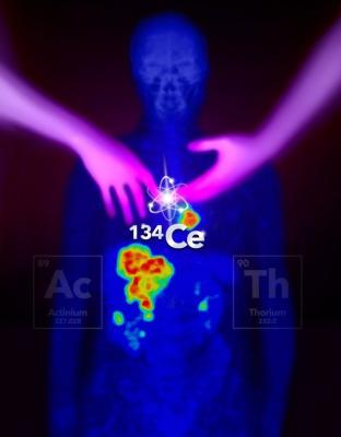 Cerium-134 can be targeted to provide an imaging analogue for two different therapy isotopes, actinium-225 and thorium-227. This helps scientists understand these therapy isotopes and develop new treatments. Image courtesy of Donald Montoya, Los Alamos National Laboratory