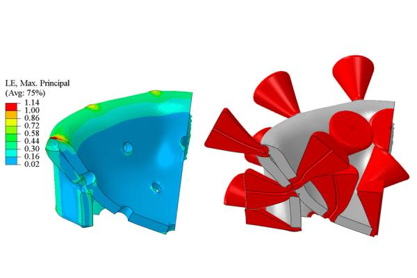 The 3D image of the collapsing virus, right, captured at the instant of the maximum vibration amplitude. Spikes were removed from the color-coded plot, on left, for clarity. Image courtesy of the researchers