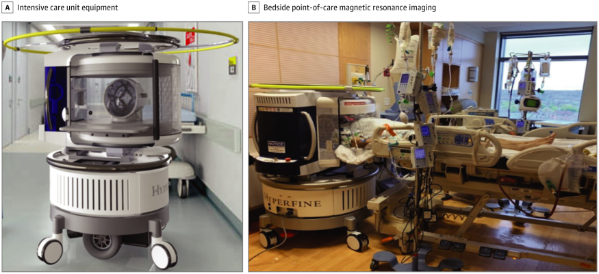 All intensive care unit equipment, including ventilators, pumps, and monitoring devices, as well as the point-of-care magnetic resonance image operator and bedside nurse, remained in the room. All equipment was operational during scanning.
