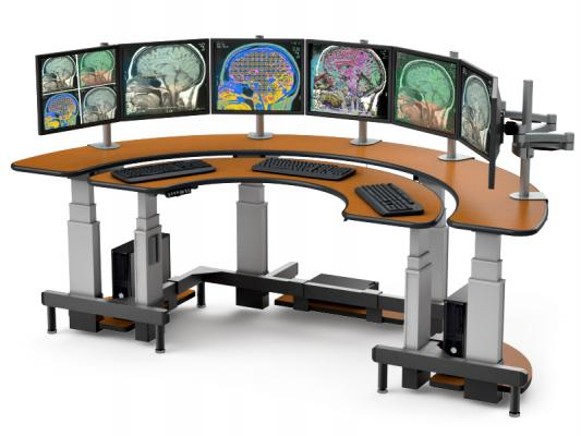 Half Moon Shaped Dual Tier Desk Maximizes Visibility Imaging