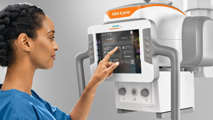 Ceiling-mounted X-ray system includes MyExam Companion intelligent user interface to guide technologist through exam workflow