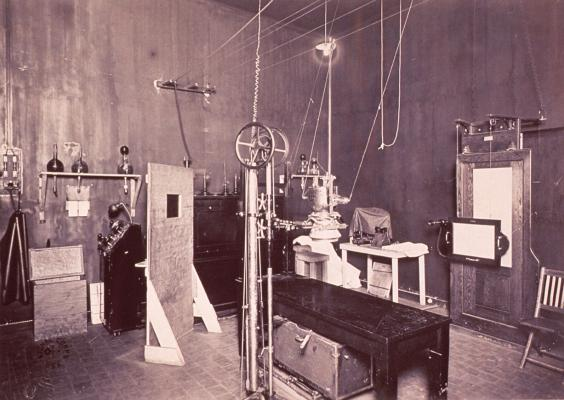 Historical image of an early X-ray room circa 1900-1920