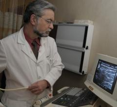 Murray Rebner, M.D., performing a breast ultrasound. Image courtesy of Beaumont Health