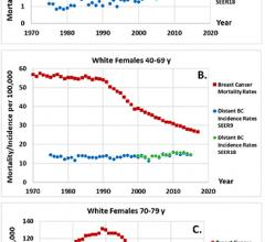 Comparison of breast cancer mortality rates (red squares) and distant-stage breast cancer incidence rates from SEER9 (blue dots) and SEER18 (green dots) per 100,000 for white women aged, A, 20–39, B, 40–69, and, C, 70–79 years (3,7,8).