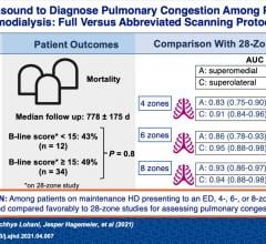An abbreviated lung ultrasound protocol can efficiently determine presence of lung congestion in patients receiving hemodialysis and help expedite care. Chart courtesy of Reisinger et al, AJKD 2021