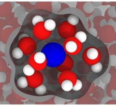 An illustration based on simulations by Rice University engineers shows a gadolinium ion (blue) in water (red and white), with inner-sphere water -- the water most affected by the gadolinium -- highlighted. The researchers' models of gadolinium in water show there's room for improvement in compounds used as contrast agents in clinical magnetic resonance imaging.