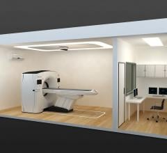 "A cut-away view of the two cabins that compose the ""CT-in-a-box"" solution from GE to rapidly deploy CT scanners at hospitals amid a COVID surge. The CT room is completely separate from the control room to aid in sanitation and keeping technologists away from COVID patients."