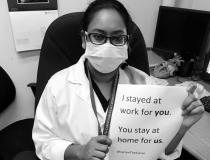 "A viral trend among healthcare works across social media has been to post selfies with signs that say ""We stayed at work for you, you stay home for us,"" to drive home the message that social distancing is needed for COVID-19 containment efforts. Pictured here is 12 Ramona Chanderballi, a radiology technologist in Lives in Georgetown, Guyana, South America."