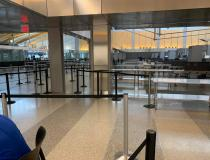 The TSA security checkpoint in the middle of the afternoon during the week in late March at Raleigh Durham Airport (RDU). Photo by commercial pilot Andrew Vlack pilot.