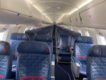 An empty U.S. commercial flight midweek in late March 2020, when commercial passenger air travel came to sudden halt due to COVID-19 with tens of thousands pf passengers cancelling travel plans many because their meetings, conferences and vacation destinations shut down to aid coronavirus containment efforts. Photo by commercial pilot Andrew Vlack pilot.