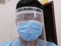 A radiology technologist Dodge Moises made his own personal protective equipment (PPE) face shield due to a severe shortage of PPE at Sen. Gerardo M. Roxas Memorial District Hospital in Iloilo City, Philippine. He used X-ray film that had gone bad with the emulsion stripped off, foam packing material, elastic and a glue gun to make own face shields for the techs. They were only issued 2 pairs of PPE for the duration, so they had to supplement. Photo by Dodge Moises.
