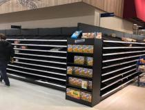 No bread available at a Meijer store in the Chicago western suburbs due to a run of groceries after Illinois implemented shelter in  place orders in mid-March. Photo by Chaya Margaret Levi-Roth.