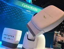 Accuray CyberKnife robotic arm radiation therapy treatment system on display on the expo floor of ASTRO 2019 this week. The counter looking area has various aperture collimators to shape the size of the photon beams. #ASTRO19 #ASTRO2019 #ASTRO