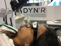 The DynR SDX motion tracking system can help control respiratory motion for lung cancer radiotherapy. The system monitors the air inhaled and exhaled and matches the tumor position to the position on the treatment plan.  The radiotherapist can use the technology to tell the patient when to hold their breath to maintain optimal positioning. #ASTRO19 #ASTRO2019 #ASTRO