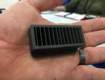 An example of a 3-D printed tungsten collimator made for Argonne National Lab by The Virtual Foundry, which was showing samples to vendors at AAPM 2019.