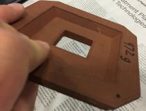 This is a 3-D printed copper electron beam therapy aperture created by The Virtual Foundry for research at the University of Wisconsin. They are looking at the possibility of 3-D printing electron cutouts rather than machined cutouts to save time and costs. The university presented a poster on this project at AAPM 2019.