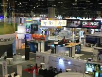 View over a portion of the vast HIMSS 2019 expo floor.