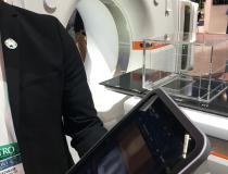 Siemens unveil two new CT scanners for radiotherapy at the ASTRO 2019 meeting. The Go.Sim offers a workhorse RT system with a 64-slice scanner. The Go.Open Pro is a 128-slice system for higher acquisition speeds and more advanced software options. The Go series of CT systems use tablet computers hung on either side of the scan to allow easy, wireless access by the tech to make all necessary adjustments to the scanner. This also allows them to spend more time at the patient's side. #ASTRO19 #ASTRO2019 #ASTRO